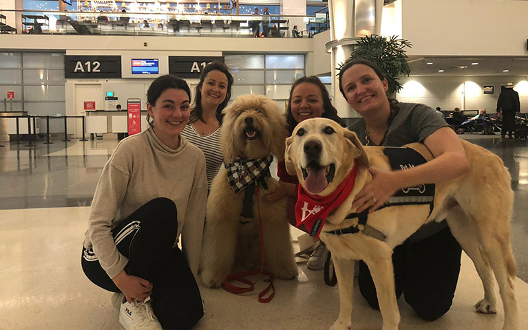 The Group at San Francisco International Airport with members of the WAG Brigade (Amy Coles, Dani West, Josie Copson, Cathy Adams)