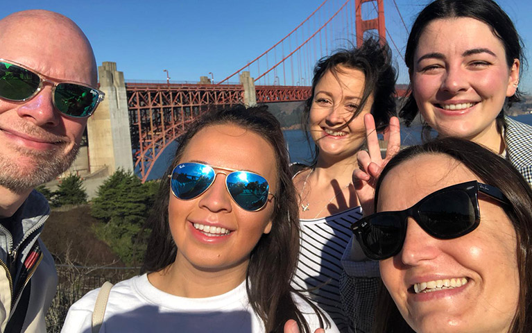 The group by the Golden Gate Bridge (David Hitton, Josie Copson, Dani West, Cathy Adams, Amy Coles)